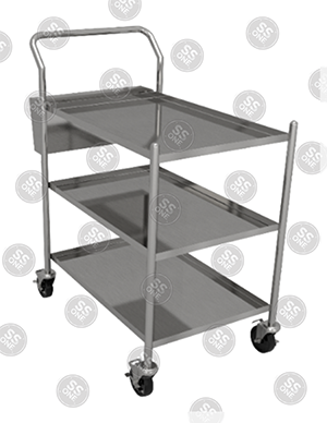 UTILITY CART 2 LAYERS WITH SILVER WARE BIN